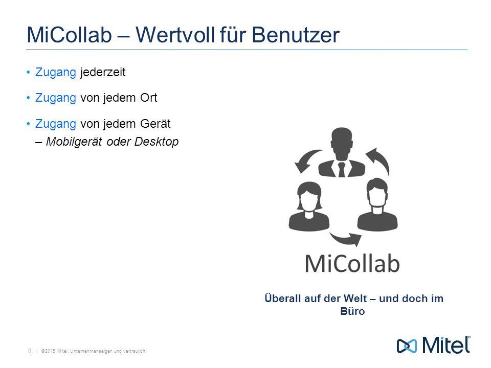   ©2015 Mitel. Unternehmenseigen und vertraulich. MiCollab MiCollab – Wertvoll für Benutzer Zugang jederzeit Zugang von jedem Ort Zugang von jedem Ger