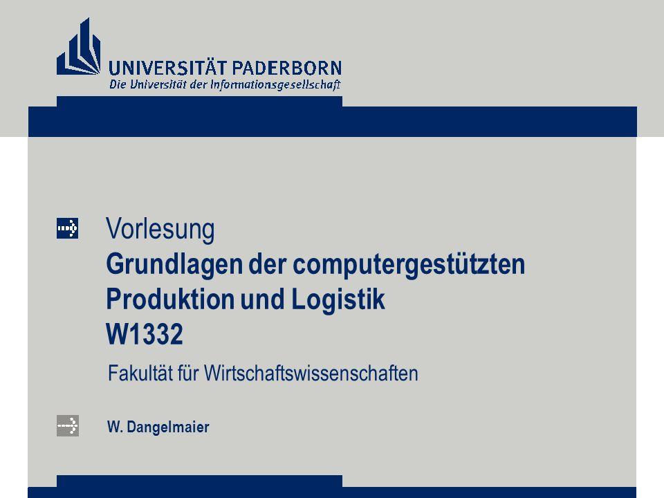Vorlesung Grundlagen der computergestützten Produktion und Logistik W1332 Fakultät für Wirtschaftswissenschaften W. Dangelmaier