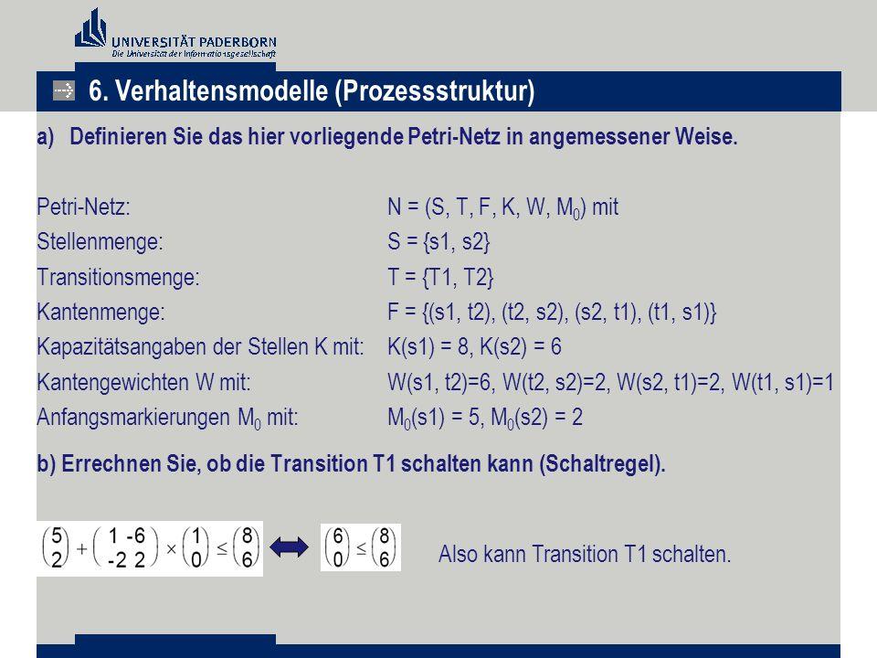 a)Definieren Sie das hier vorliegende Petri-Netz in angemessener Weise. Petri-Netz: N = (S, T, F, K, W, M 0 ) mit Stellenmenge:S = {s1, s2} Transition