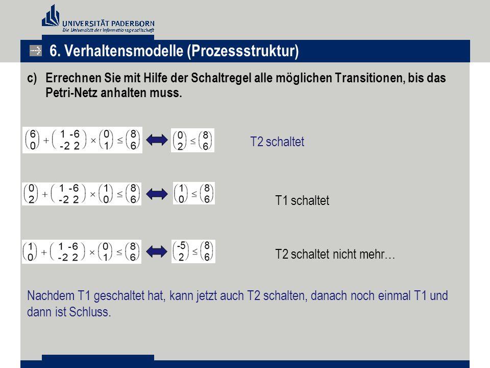 c) Errechnen Sie mit Hilfe der Schaltregel alle möglichen Transitionen, bis das Petri-Netz anhalten muss. T1 schaltet T2 schaltet nicht mehr… T2 schal
