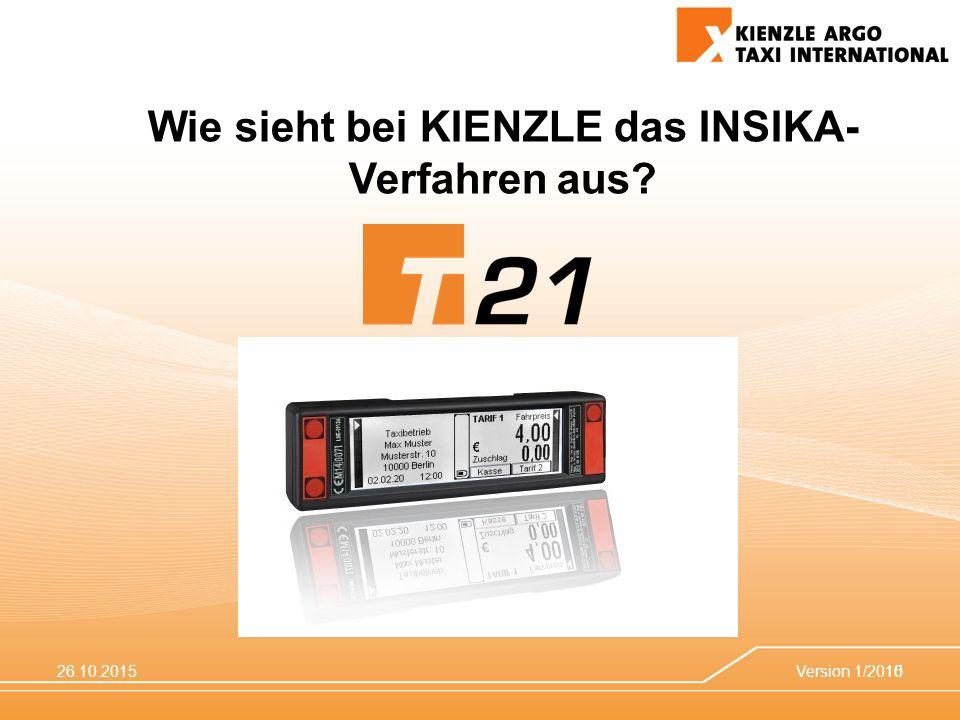 26.10.2015Version 1/201510 Wie sieht bei KIENZLE das INSIKA- Verfahren aus?
