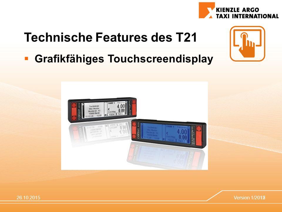 26.10.2015Version 1/201512 Technische Features des T21  Grafikfähiges Touchscreendisplay