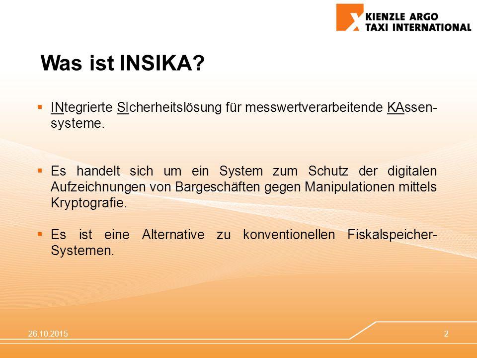 26.10.20152  INtegrierte SIcherheitslösung für messwertverarbeitende KAssen- systeme.  Es handelt sich um ein System zum Schutz der digitalen Aufzei