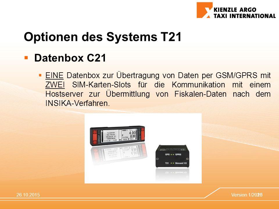 26.10.2015Version 1/201520 Optionen des Systems T21  Datenbox C21  EINE Datenbox zur Übertragung von Daten per GSM/GPRS mit ZWEI SIM-Karten-Slots für die Kommunikation mit einem Hostserver zur Übermittlung von Fiskalen-Daten nach dem INSIKA-Verfahren.