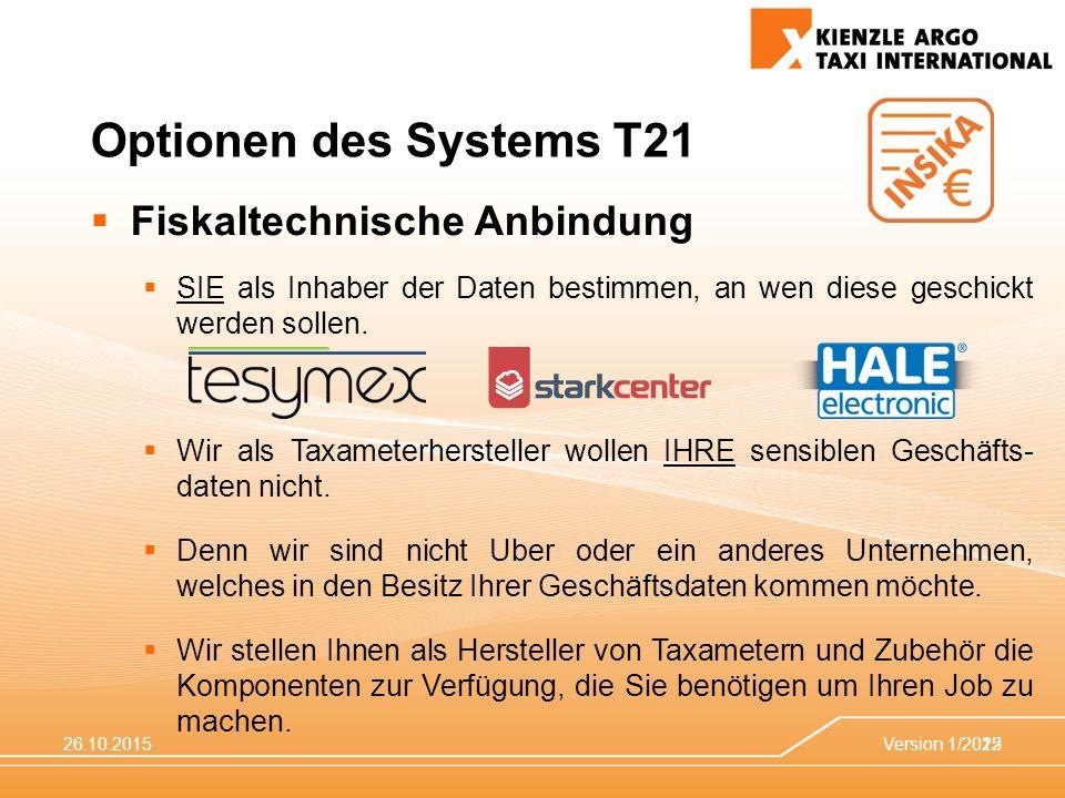 26.10.2015Version 1/201522 Optionen des Systems T21  Fiskaltechnische Anbindung  SIE als Inhaber der Daten bestimmen, an wen diese geschickt werden sollen.