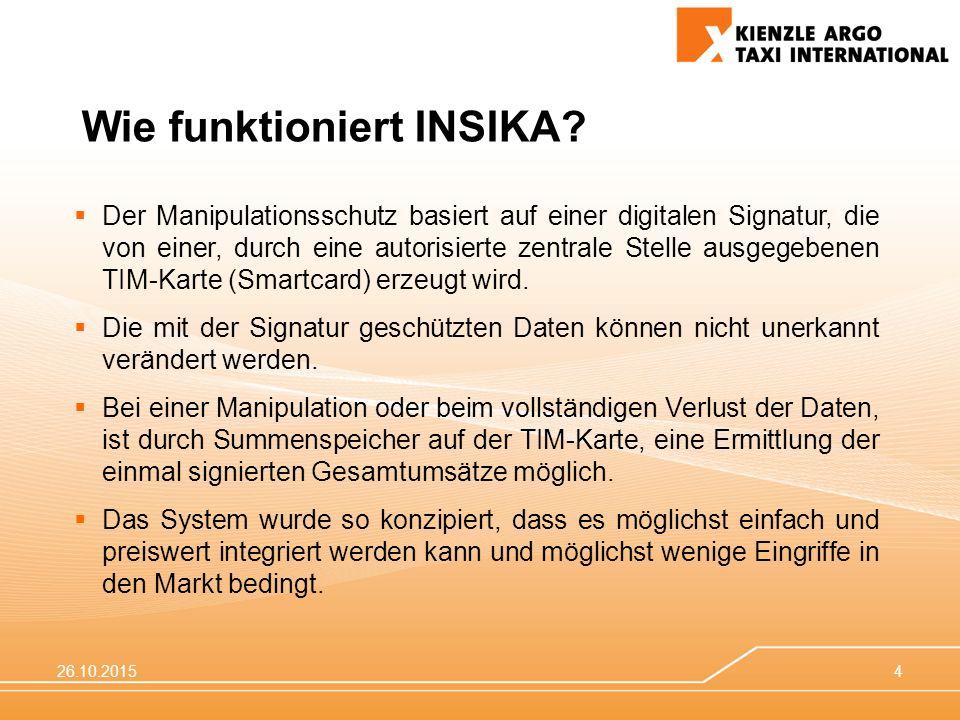 26.10.20154  Der Manipulationsschutz basiert auf einer digitalen Signatur, die von einer, durch eine autorisierte zentrale Stelle ausgegebenen TIM-Ka