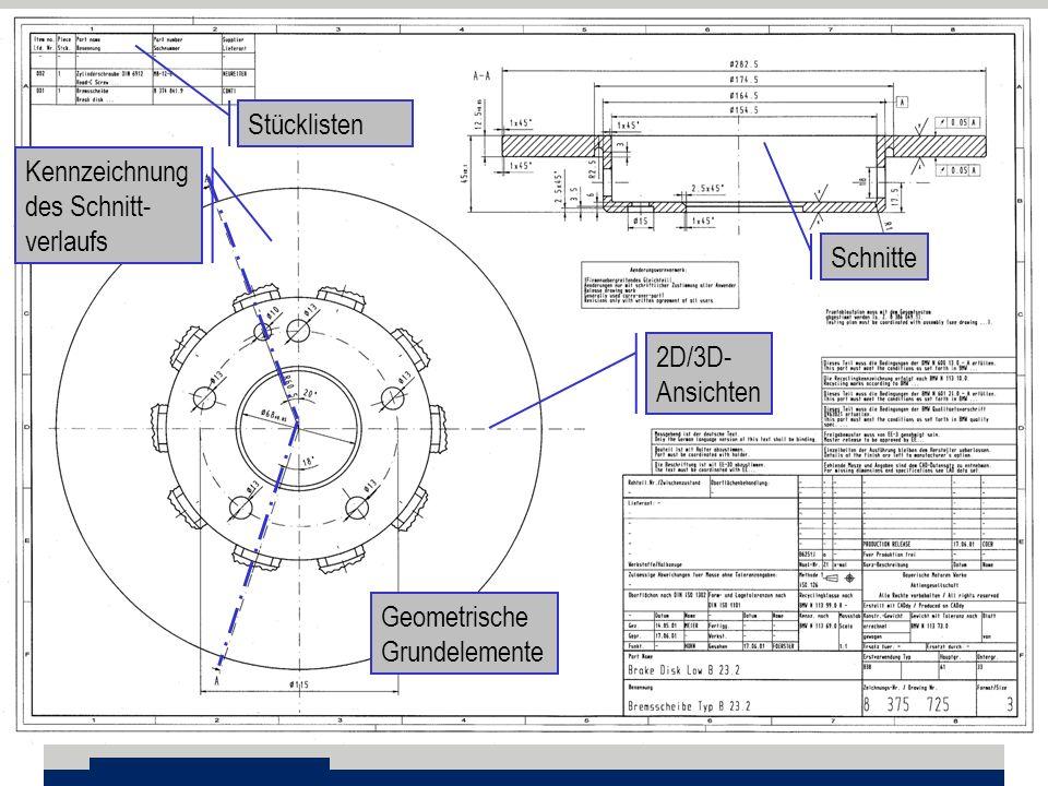 Stücklisten Geometrische Grundelemente 2D/3D- Ansichten Schnitte Kennzeichnung des Schnitt- verlaufs