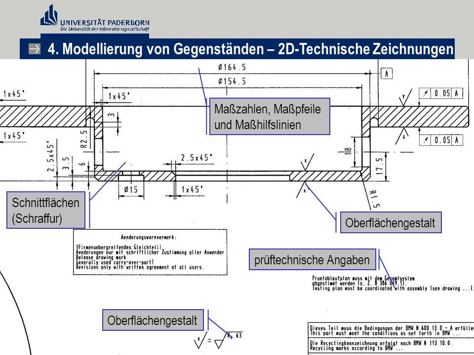 Maßzahlen, Maßpfeile und Maßhilfslinien Oberflächengestalt prüftechnische Angaben Oberflächengestalt Schnittflächen (Schraffur) 4. Modellierung von Ge