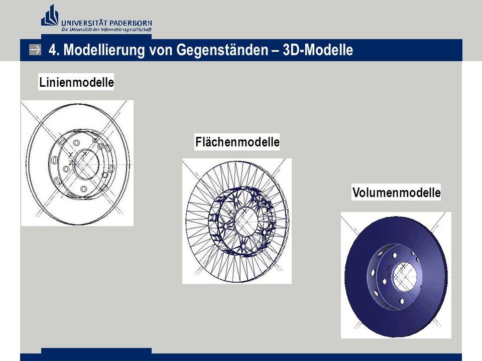 Linienmodelle Flächenmodelle Volumenmodelle 4. Modellierung von Gegenständen – 3D-Modelle