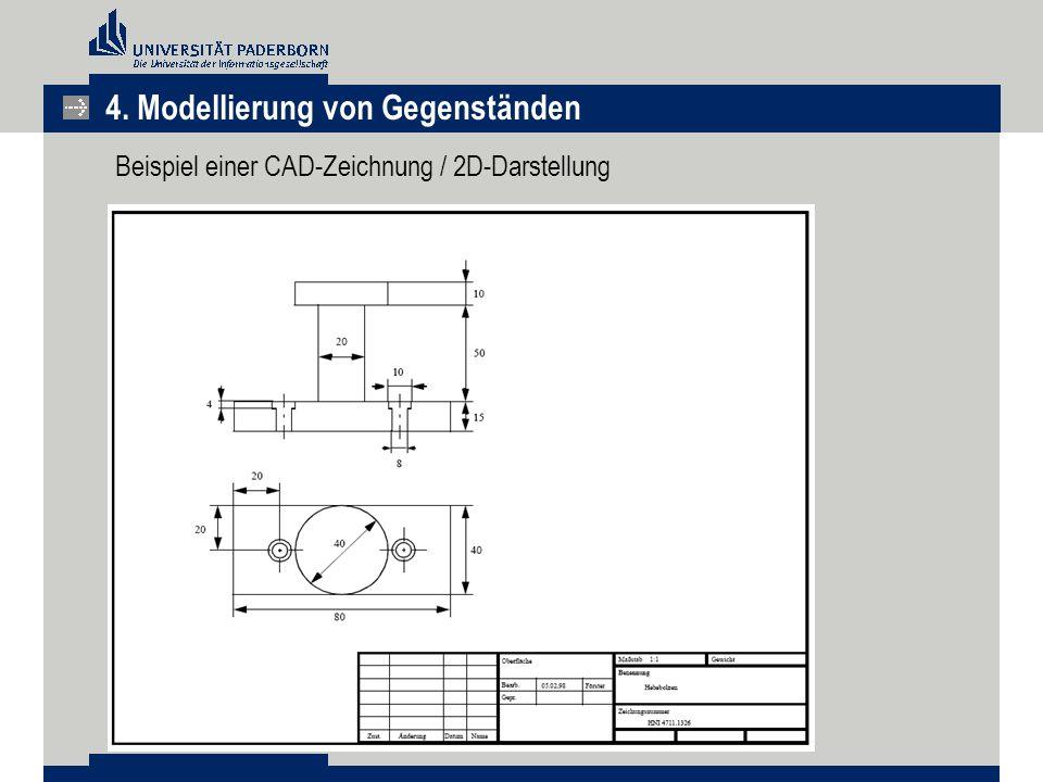 Beispiel einer CAD-Zeichnung / 2D-Darstellung 4. Modellierung von Gegenständen