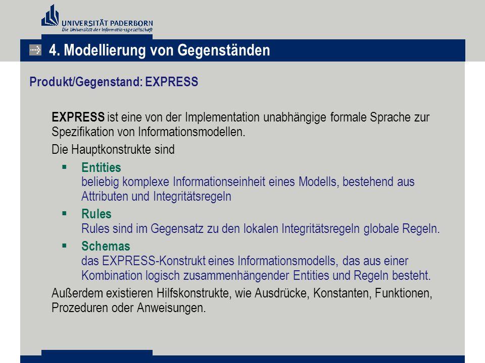 Produkt/Gegenstand: EXPRESS EXPRESS ist eine von der Implementation unabhängige formale Sprache zur Spezifikation von Informationsmodellen. Die Hauptk