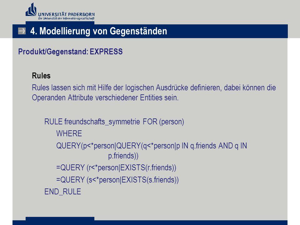 Produkt/Gegenstand: EXPRESS Rules Rules lassen sich mit Hilfe der logischen Ausdrücke definieren, dabei können die Operanden Attribute verschiedener E