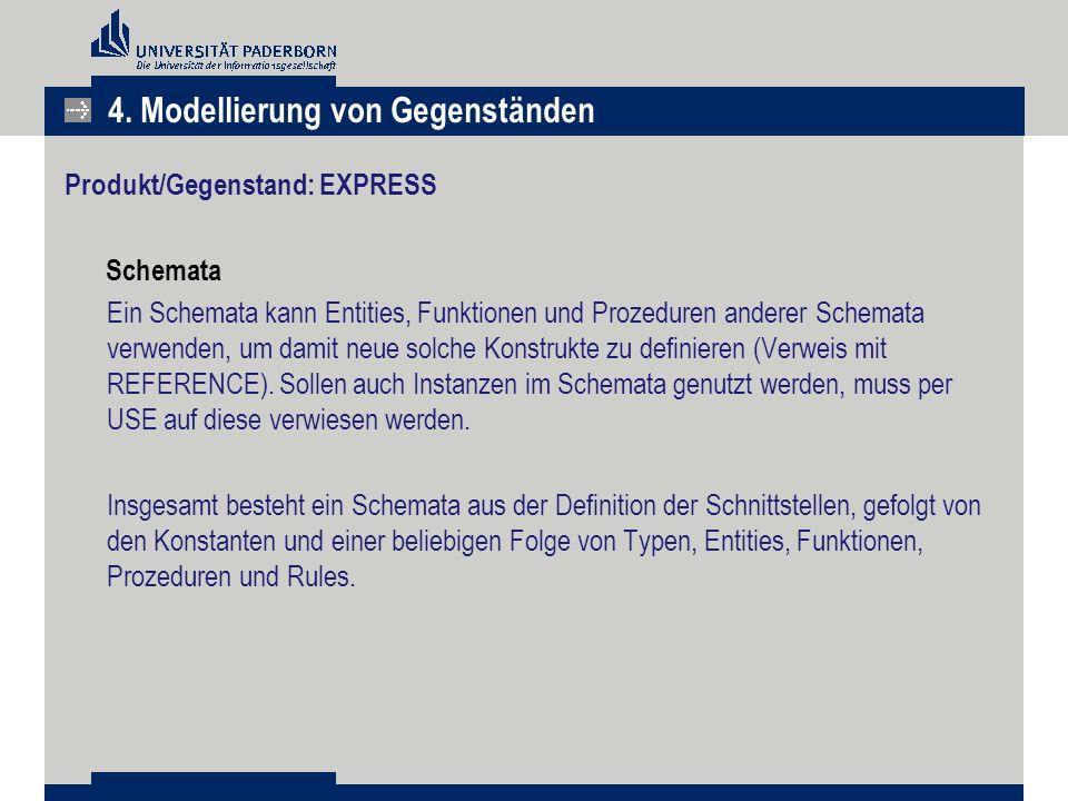 Produkt/Gegenstand: EXPRESS Schemata Ein Schemata kann Entities, Funktionen und Prozeduren anderer Schemata verwenden, um damit neue solche Konstrukte