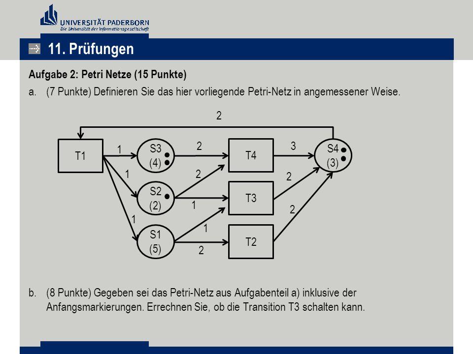 Aufgabe 2: Petri Netze (15 Punkte) a.(7 Punkte) Definieren Sie das hier vorliegende Petri-Netz in angemessener Weise.