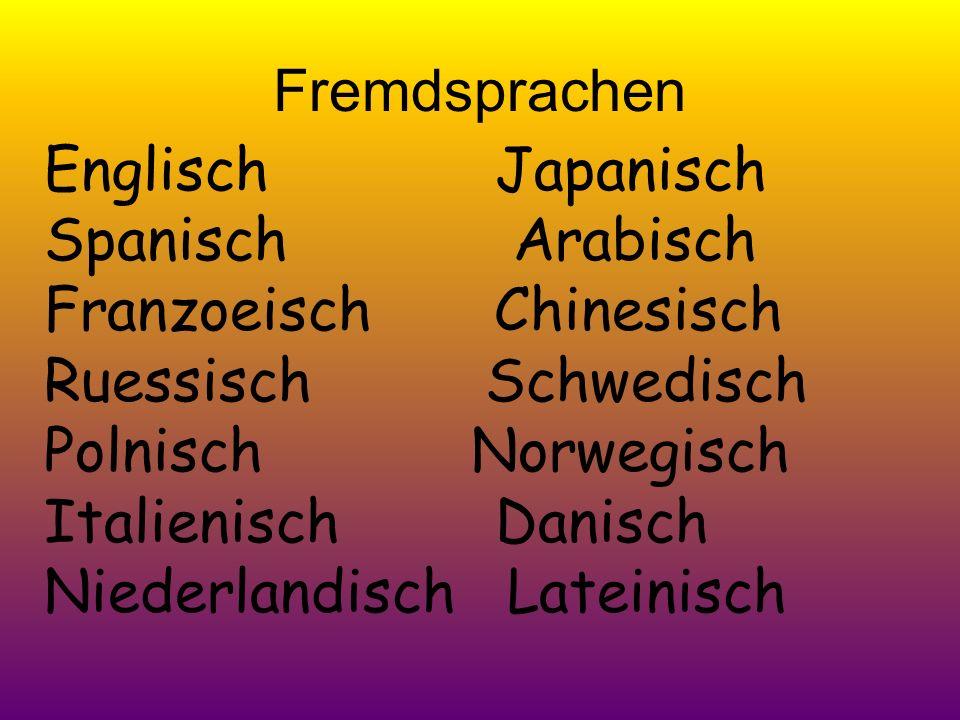 Fremdsprachen Englisch Japanisch Spanisch Arabisch Franzoeisch Chinesisch Ruessisch Schwedisch Polnisch Norwegisch Italienisch Danisch Niederlandisch Lateinisch