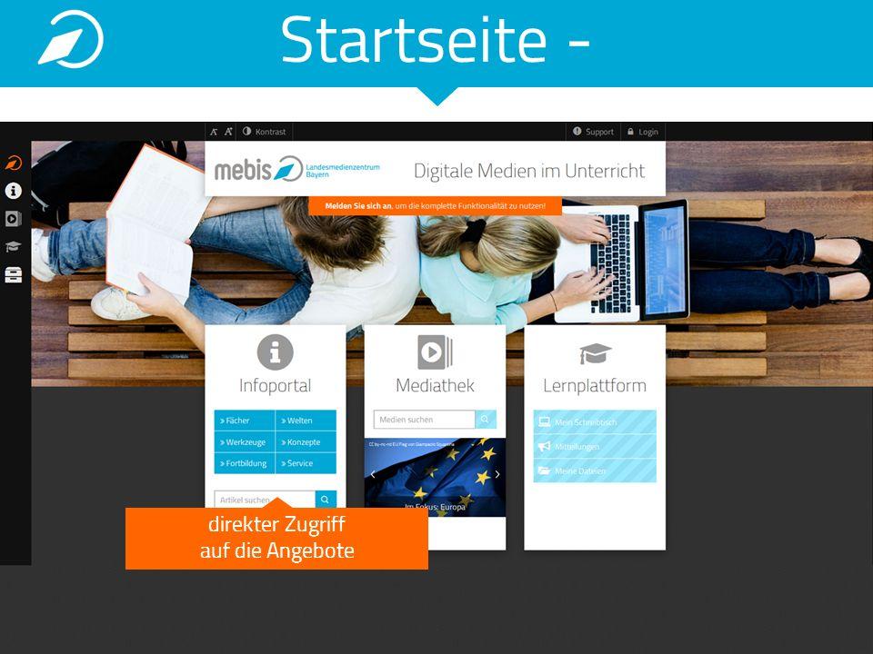 Startseite - registrierte Nutzer können mit einem Login alle Angebote nutzen