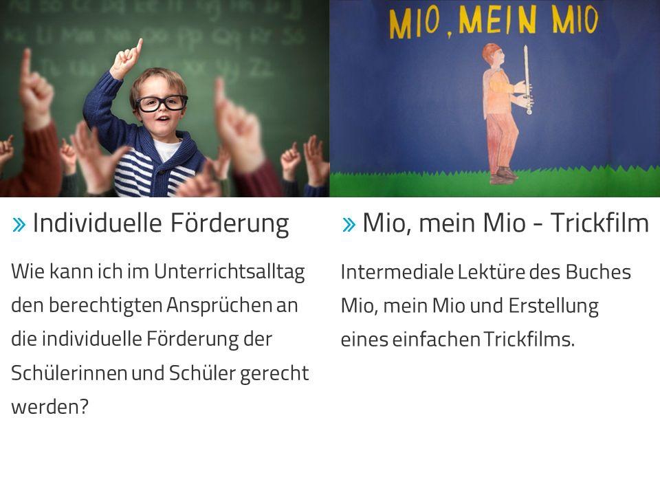  Mio, mein Mio - Trickfilm Intermediale Lektüre des Buches Mio, mein Mio und Erstellung eines einfachen Trickfilms.  Individuelle Förderung Wie kann