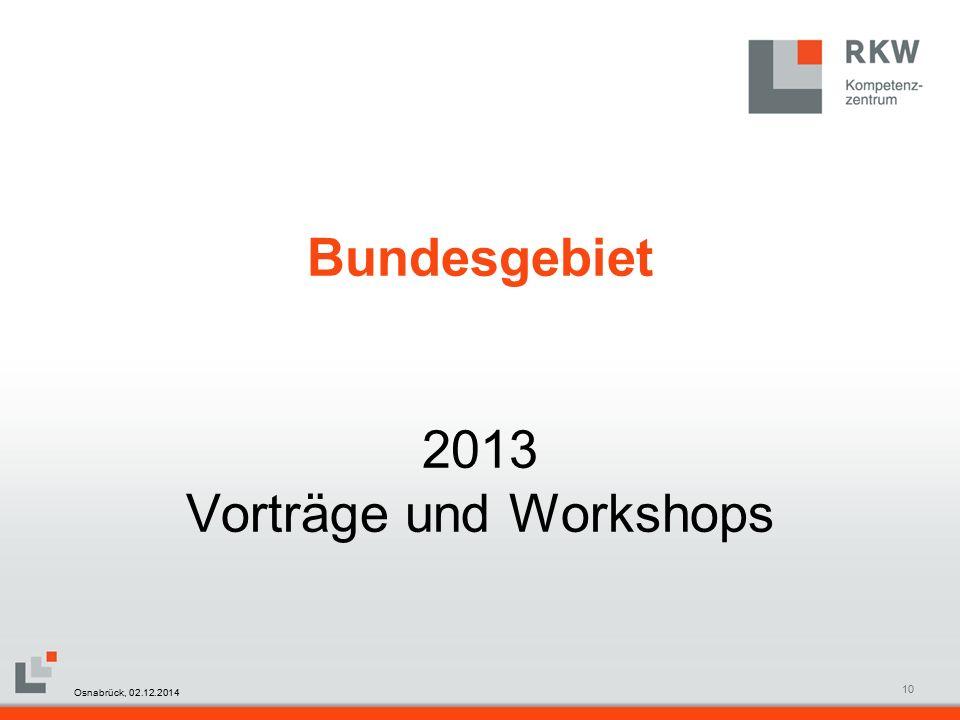 RKW Kompetenzzentrum Masterfolie Juni 200810 Bundesgebiet 2013 Vorträge und Workshops Osnabrück, 02.12.2014