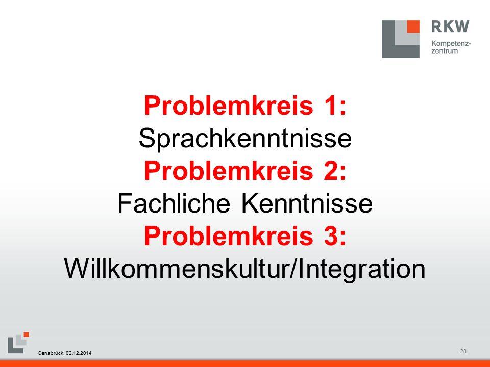 RKW Kompetenzzentrum Masterfolie Juni 200828 Problemkreis 1: Sprachkenntnisse Problemkreis 2: Fachliche Kenntnisse Problemkreis 3: Willkommenskultur/Integration Osnabrück, 02.12.2014