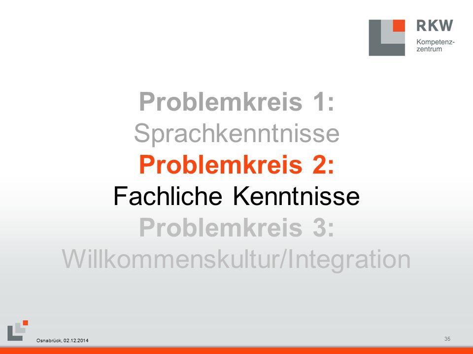 RKW Kompetenzzentrum Masterfolie Juni 200835 Problemkreis 1: Sprachkenntnisse Problemkreis 2: Fachliche Kenntnisse Problemkreis 3: Willkommenskultur/Integration Osnabrück, 02.12.2014