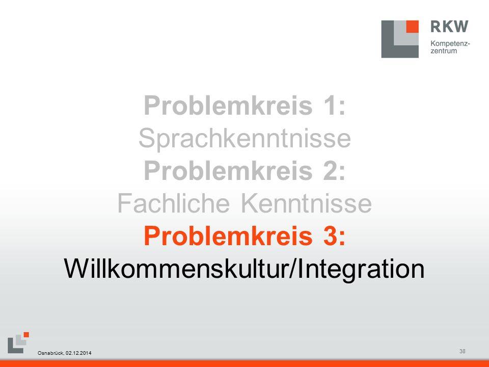 RKW Kompetenzzentrum Masterfolie Juni 200838 Problemkreis 1: Sprachkenntnisse Problemkreis 2: Fachliche Kenntnisse Problemkreis 3: Willkommenskultur/Integration Osnabrück, 02.12.2014