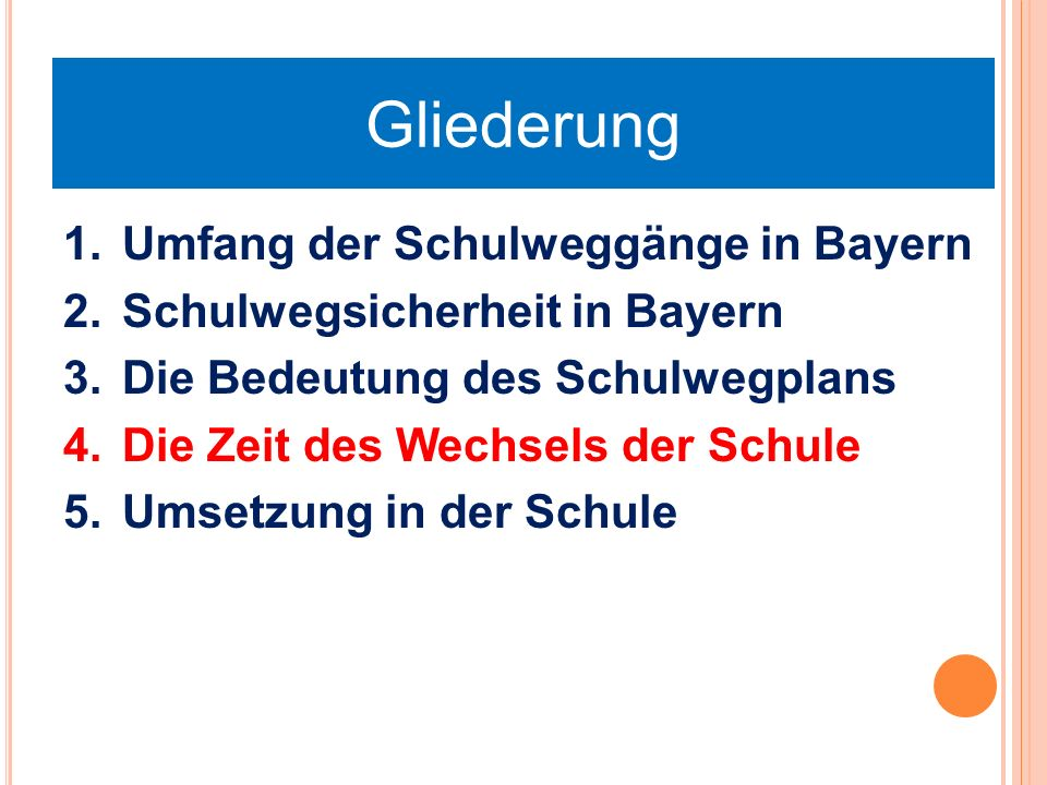 Gliederung 1.Umfang der Schulweggänge in Bayern 2.Schulwegsicherheit in Bayern 3.Die Bedeutung des Schulwegplans 4.Die Zeit des Wechsels der Schule 5.Umsetzung in der Schule