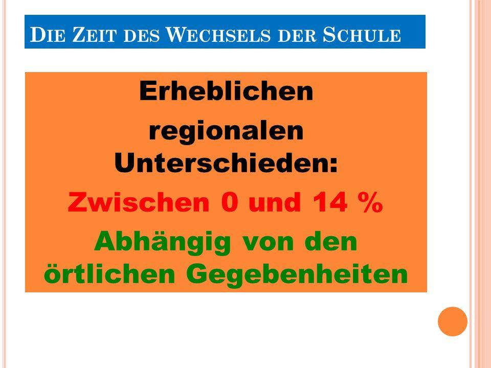 Erheblichen regionalen Unterschieden: Zwischen 0 und 14 % Abhängig von den örtlichen Gegebenheiten D IE Z EIT DES W ECHSELS DER S CHULE