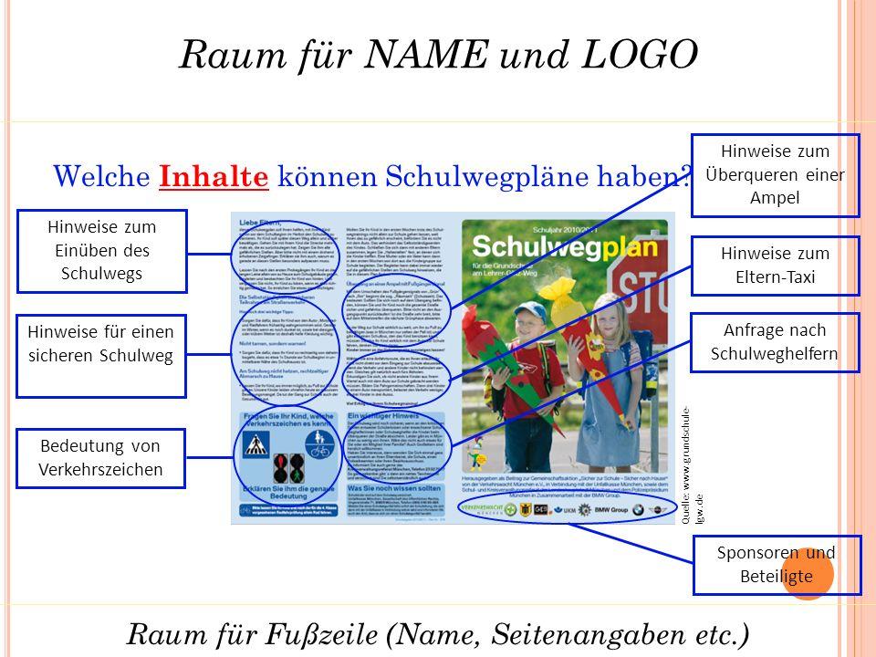 Raum für NAME und LOGO Raum für Fußzeile (Name, Seitenangaben etc.) Quelle: www.grundschule- lgw.de Welche Inhalte können Schulwegpläne haben.