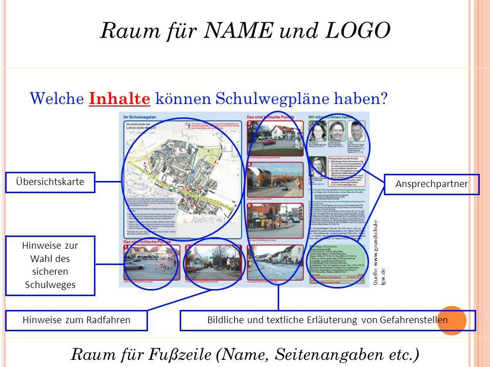Raum für NAME und LOGO Raum für Fußzeile (Name, Seitenangaben etc.) Welche Inhalte können Schulwegpläne haben.