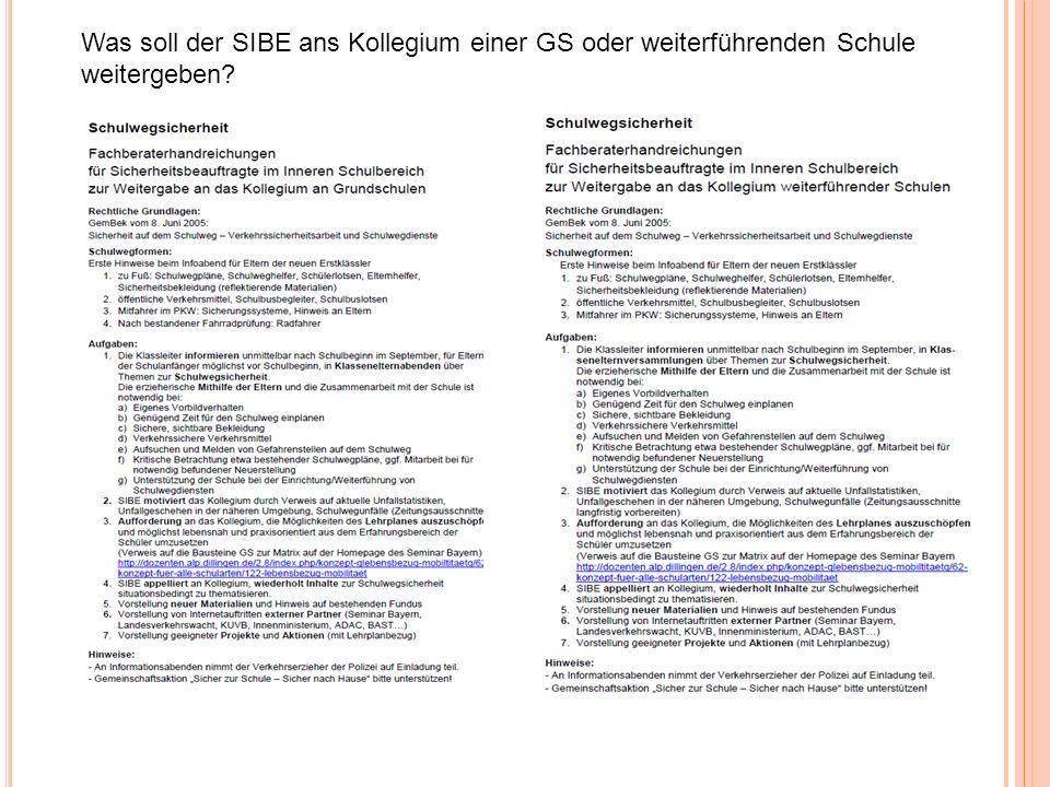Was soll der SIBE ans Kollegium einer GS oder weiterführenden Schule weitergeben?