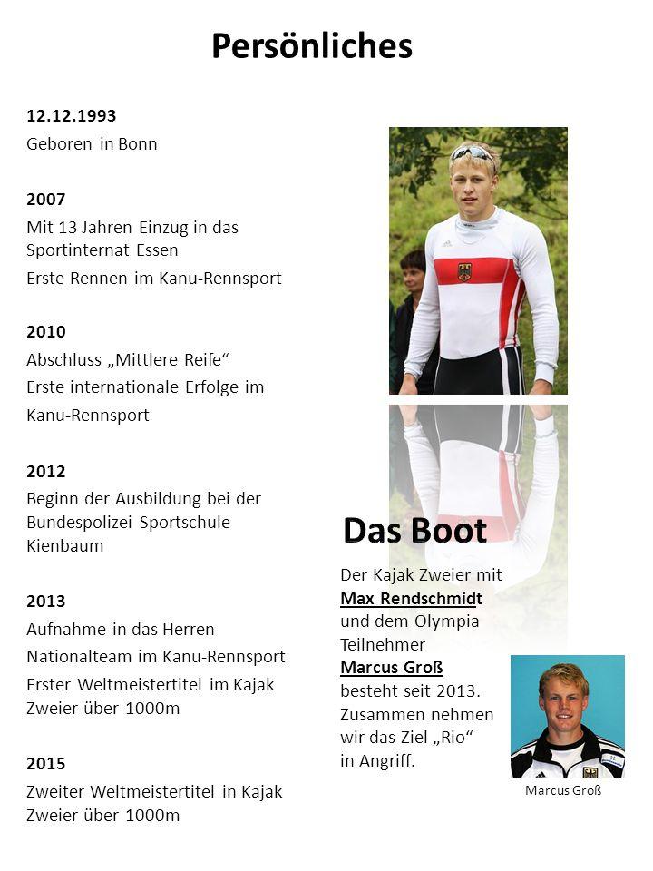 """Persönliches 12.12.1993 Geboren in Bonn 2007 Mit 13 Jahren Einzug in das Sportinternat Essen Erste Rennen im Kanu-Rennsport 2010 Abschluss """"Mittlere R"""