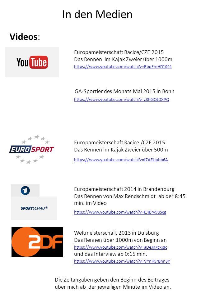 In den Medien https://www.youtube.com/watch?v=EJjBrv9uSxg Europameisterschaft 2014 in Brandenburg Das Rennen von Max Rendschmidt ab der 8:45 min. im V