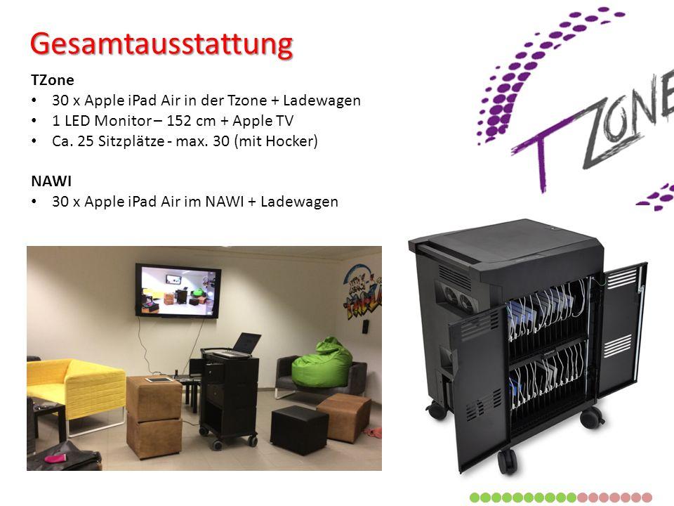 TZone 30 x Apple iPad Air in der Tzone + Ladewagen 1 LED Monitor – 152 cm + Apple TV Ca.