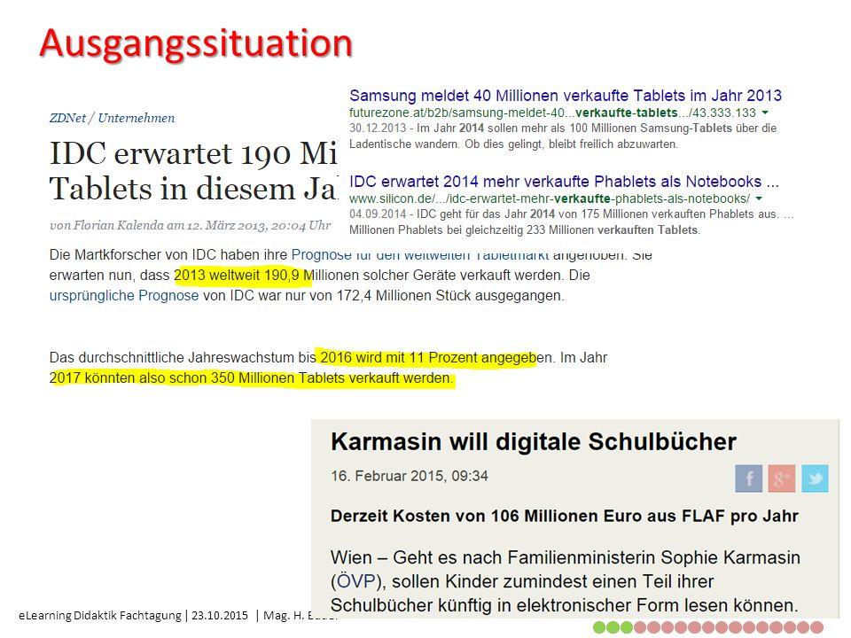 eLearning Didaktik Fachtagung | 23.10.2015 | Mag. H. Bauer Ausgangssituation