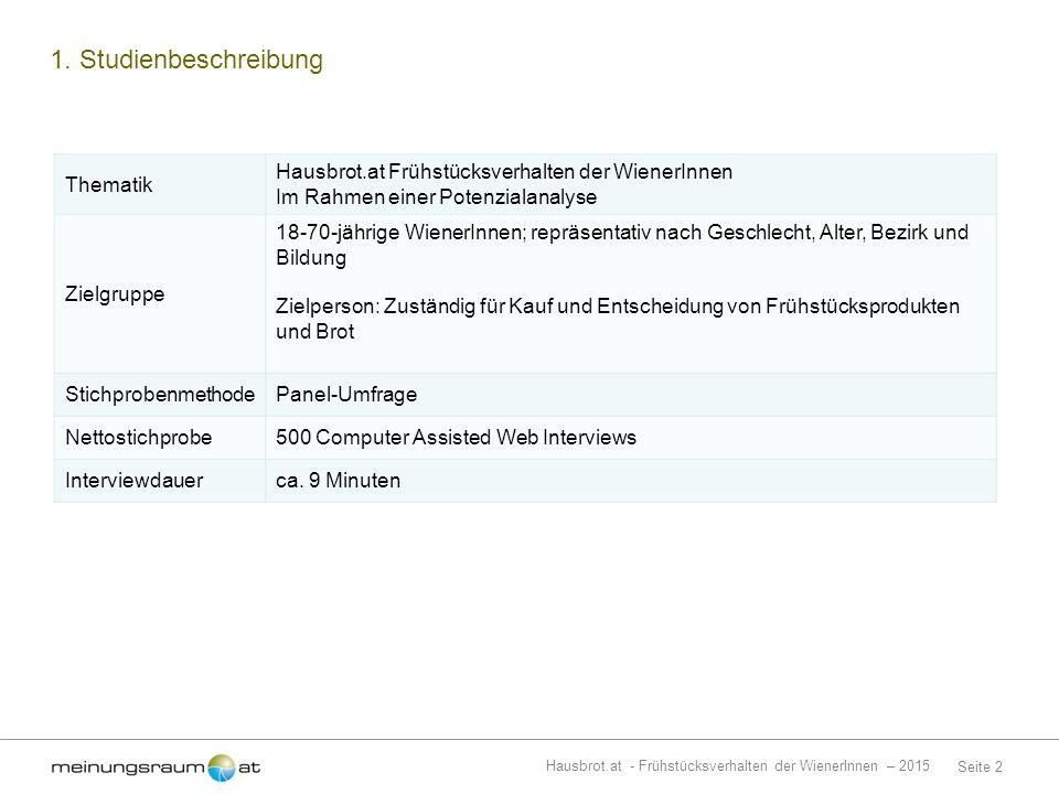 Seite 2 Hausbrot.at - Frühstücksverhalten der WienerInnen – 2015 1.