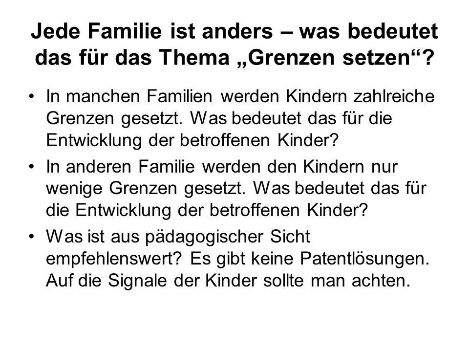 """Jede Familie ist anders – was bedeutet das für das Thema """"Grenzen setzen ."""