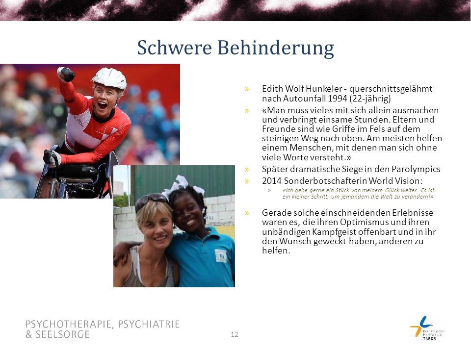 12 Schwere Behinderung »Edith Wolf Hunkeler - querschnittsgelähmt nach Autounfall 1994 (22-jährig) »«Man muss vieles mit sich allein ausmachen und verbringt einsame Stunden.