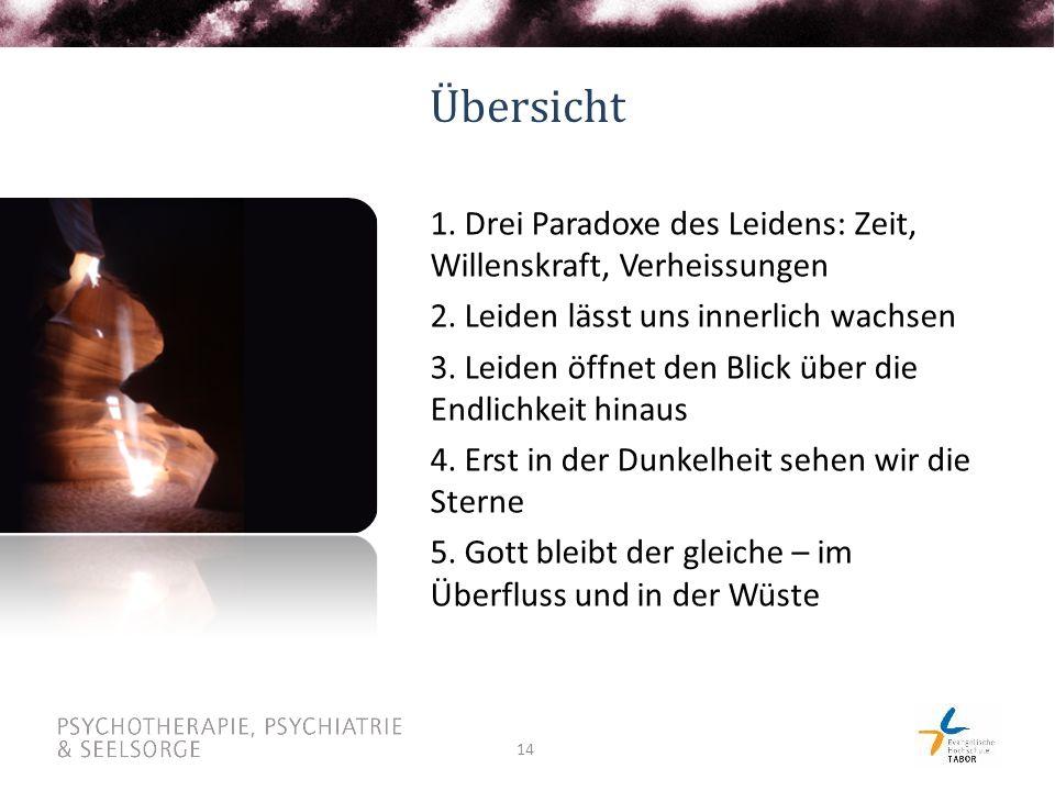 14 Übersicht 1. Drei Paradoxe des Leidens: Zeit, Willenskraft, Verheissungen 2.