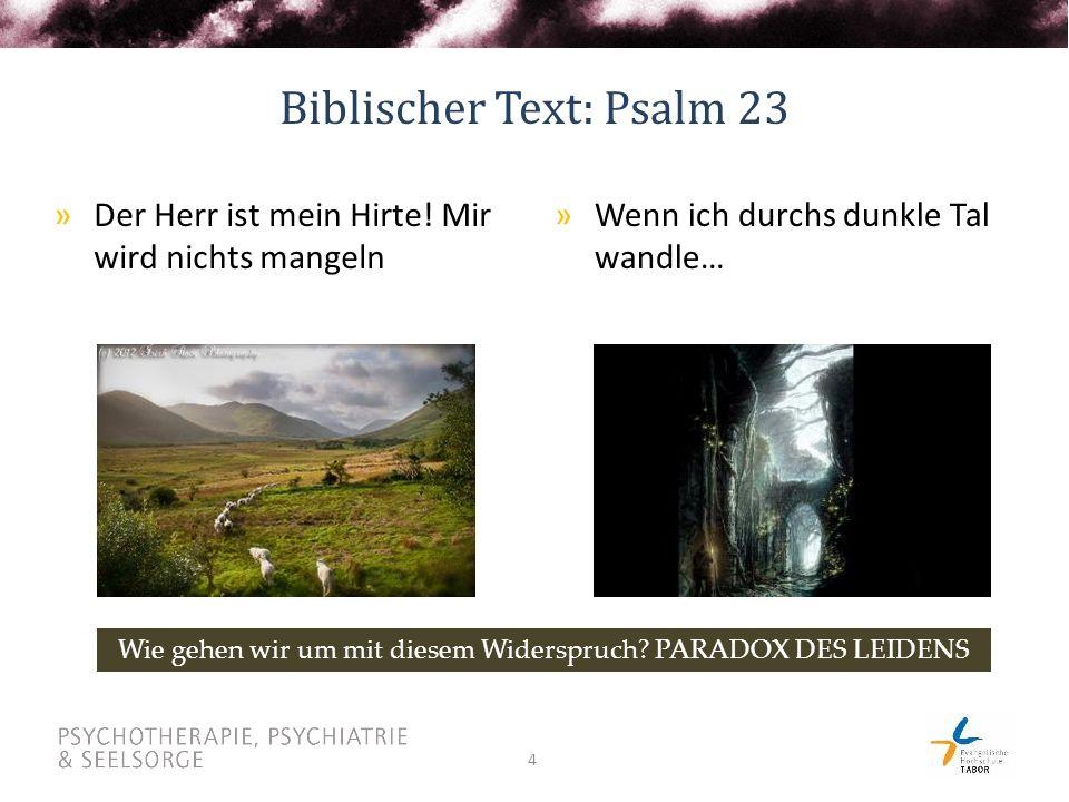 4 Biblischer Text: Psalm 23 »Wenn ich durchs dunkle Tal wandle… »Der Herr ist mein Hirte.