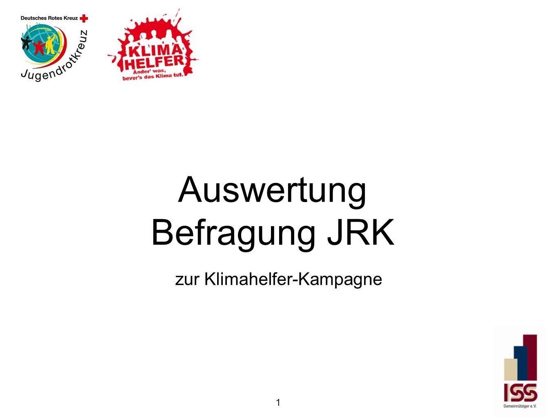 Auswertung Befragung JRK zur Klimahelfer-Kampagne 1