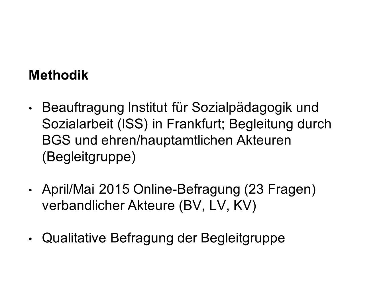 Methodik Beauftragung Institut für Sozialpädagogik und Sozialarbeit (ISS) in Frankfurt; Begleitung durch BGS und ehren/hauptamtlichen Akteuren (Beglei
