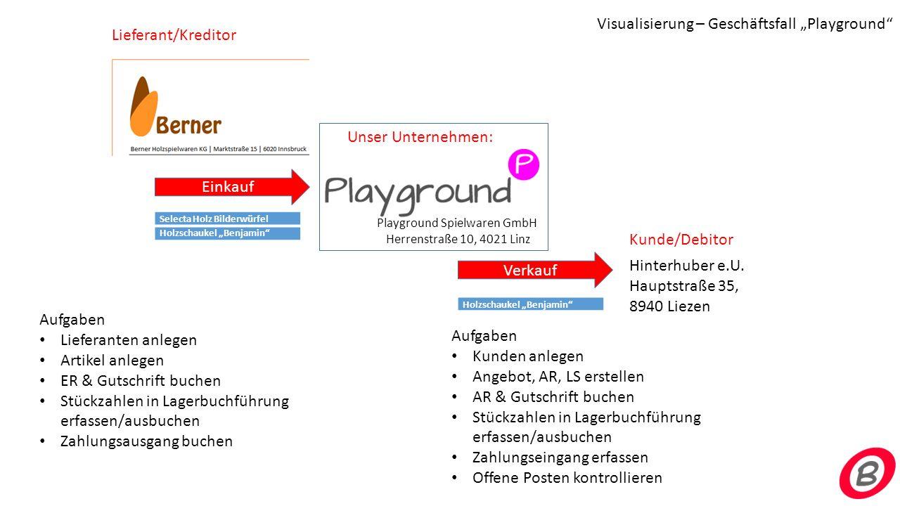 Unser Unternehmen: Playground Spielwaren GmbH Herrenstraße 10, 4021 Linz Lieferant/Kreditor Hinterhuber e.U. Hauptstraße 35, 8940 Liezen Kunde/Debitor