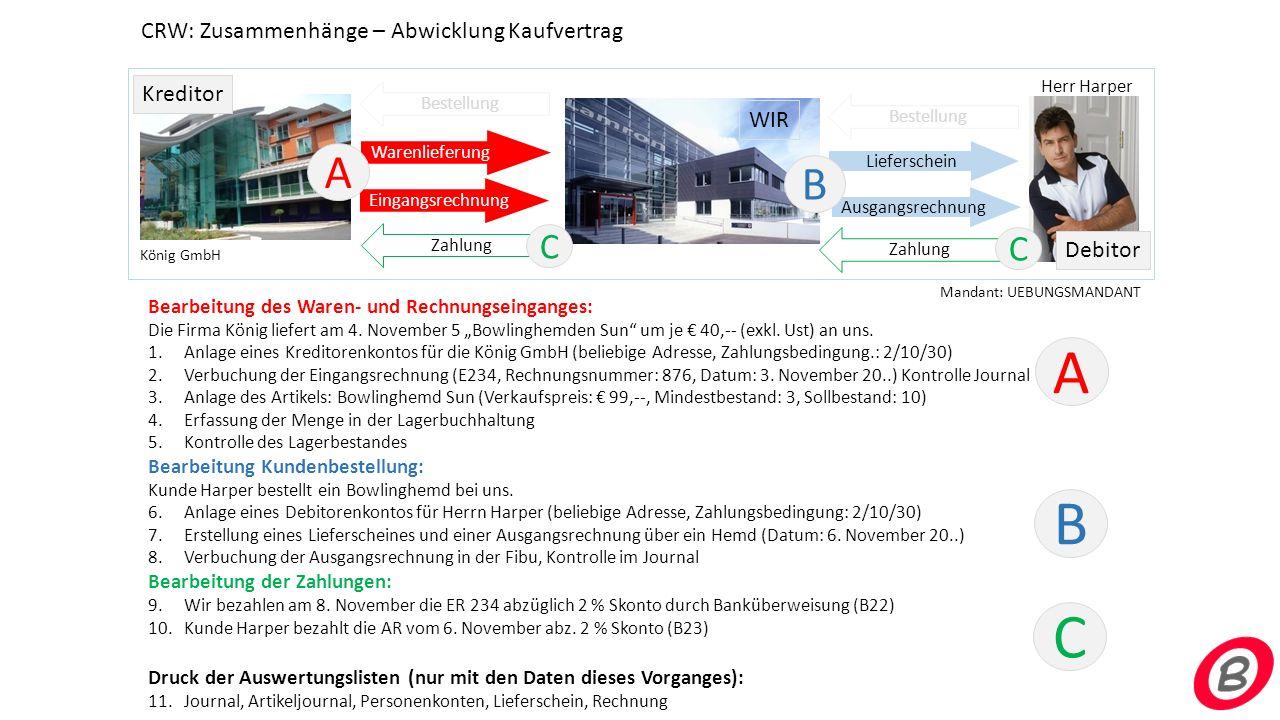 WIR Kreditor Debitor Warenlieferung Bestellung Eingangsrechnung Ausgangsrechnung Lieferschein König GmbH Herr Harper Bestellung Bearbeitung des Waren-