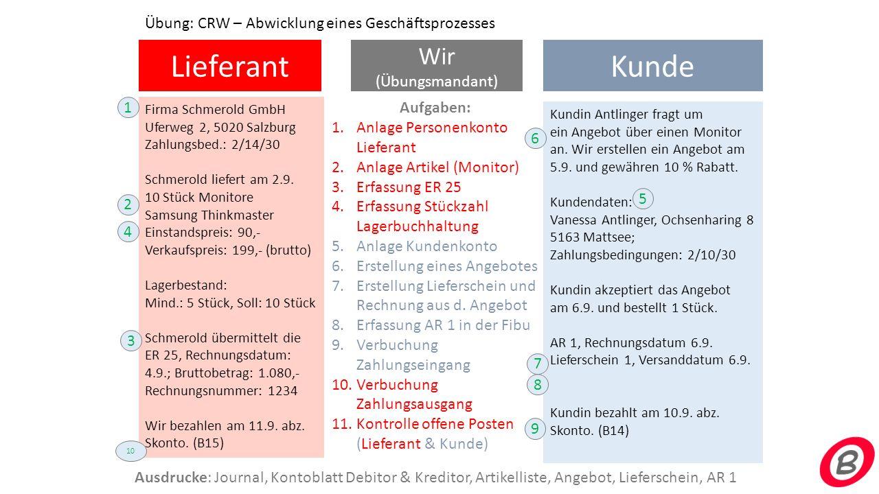 Lieferant Wir (Übungsmandant) Kunde Firma Schmerold GmbH Uferweg 2, 5020 Salzburg Zahlungsbed.: 2/14/30 Schmerold liefert am 2.9. 10 Stück Monitore Sa