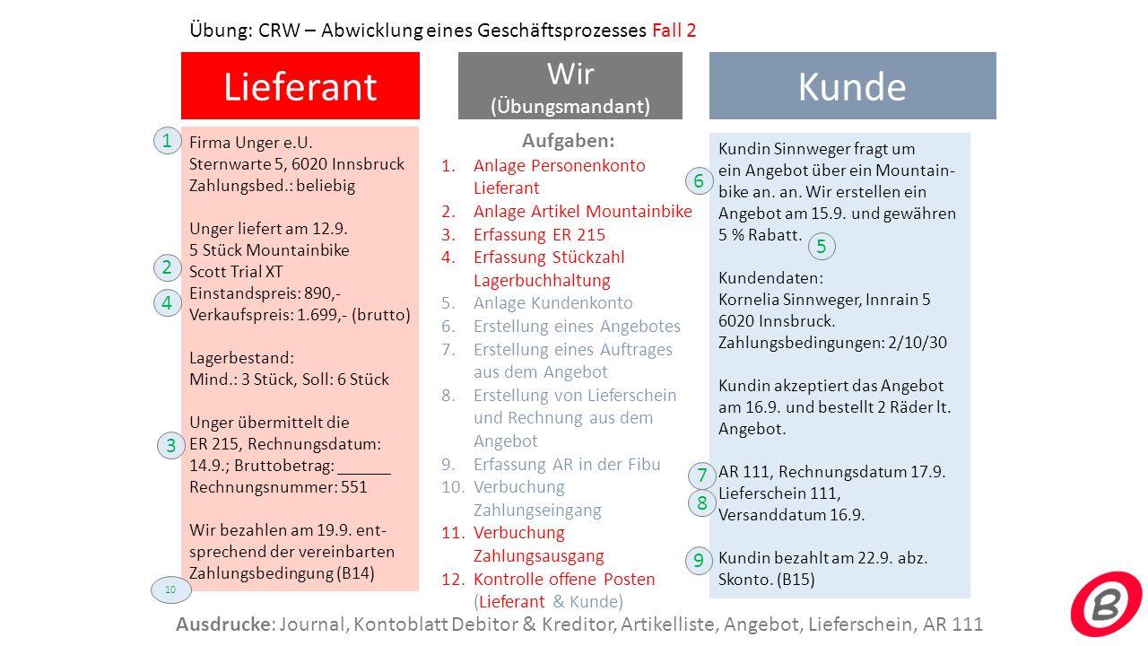 Lieferant Wir (Übungsmandant) Firma Merfried KG (beliebige Adresse) Zahlungsbed.: 2/14/30 Merfried liefert am 12.9.
