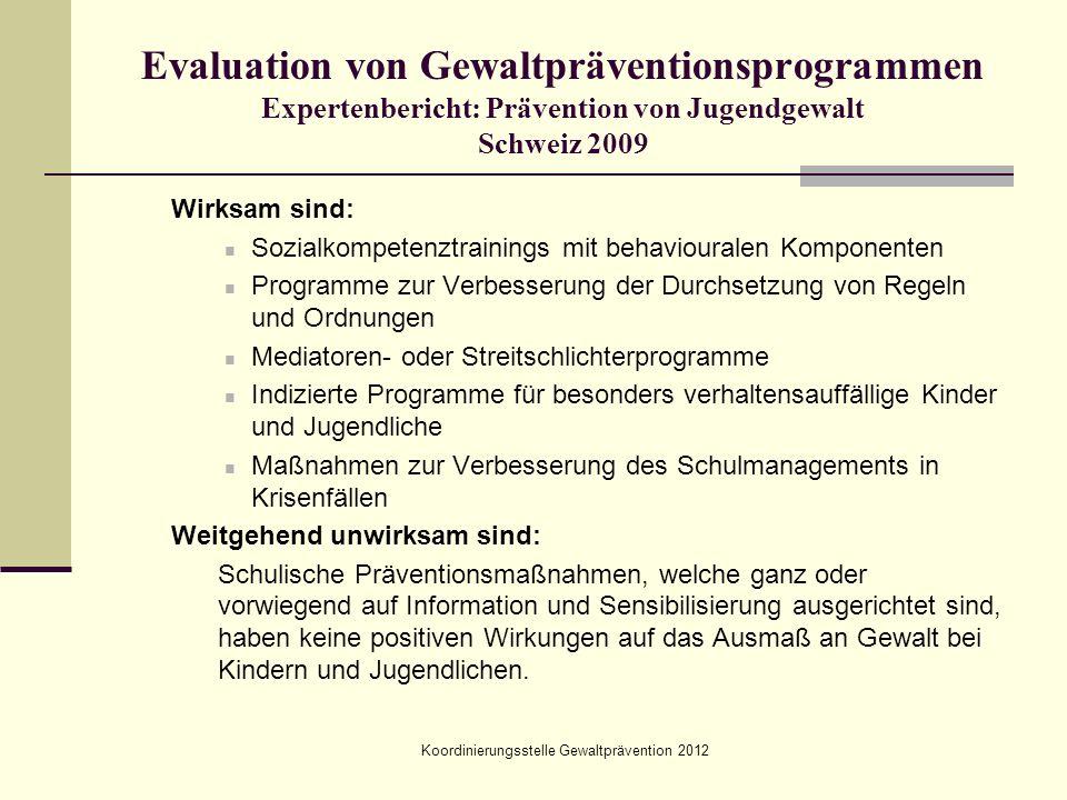 Koordinierungsstelle Gewaltprävention 2012 Evaluation von Gewaltpräventionsprogrammen Expertenbericht: Prävention von Jugendgewalt Schweiz 2009 Wirksa