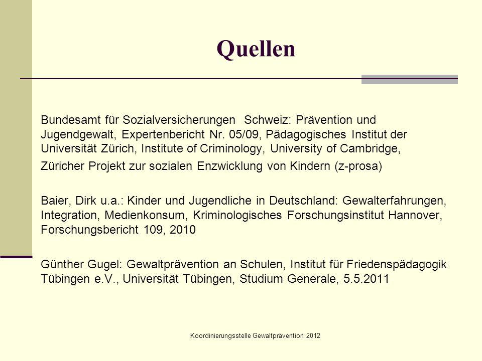 Koordinierungsstelle Gewaltprävention 2012 Quellen Bundesamt für Sozialversicherungen Schweiz: Prävention und Jugendgewalt, Expertenbericht Nr. 05/09,