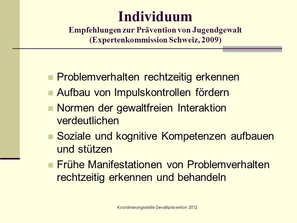 Koordinierungsstelle Gewaltprävention 2012 Individuum Empfehlungen zur Prävention von Jugendgewalt (Expertenkommission Schweiz, 2009) Problemverhalten