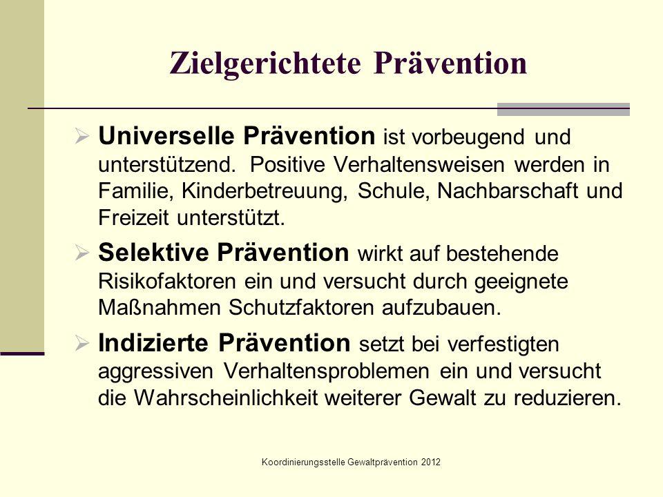 Zielgerichtete Prävention  Universelle Prävention ist vorbeugend und unterstützend. Positive Verhaltensweisen werden in Familie, Kinderbetreuung, Sch