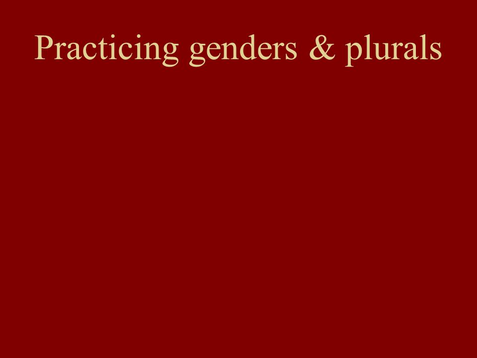 Practicing genders & plurals